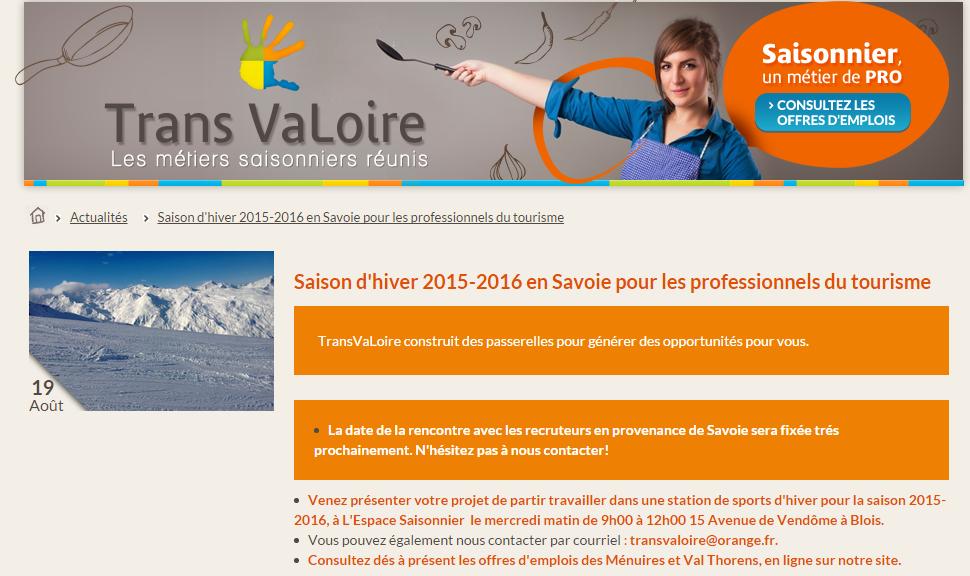 Recrutement pour la saison hiver 2015-2016 – Transvaloire