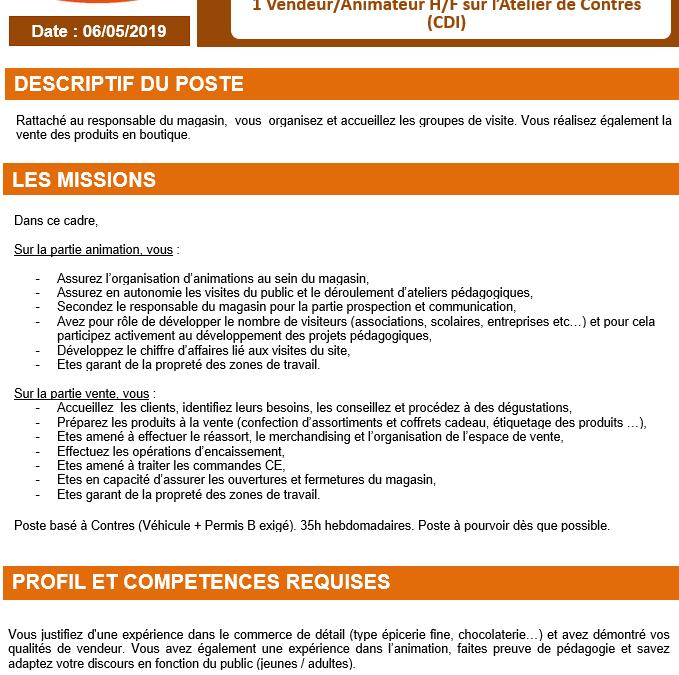 Recherche Animateur/trice Vendeur/vendeuse Atelier St Michel Le Controis en Sologne